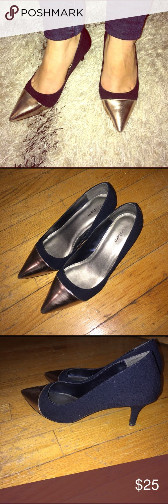 Dress Barn two tone heel Dress Barn silver and navy two tone heel. Size 6.5. Slightly worn, great condition. Bottom plastic piece of heel slightly shifted, see photo. Dress Barn Shoes Heels