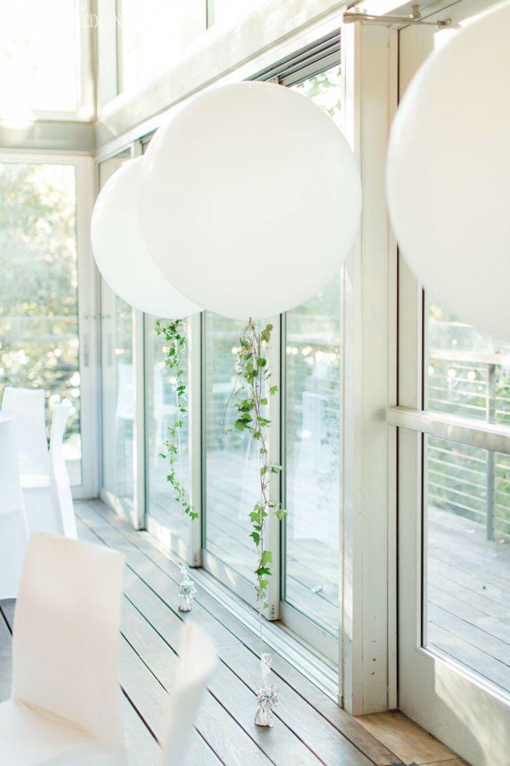 Balloons for wedding - White Balloon Decor Trailing With Greenery Www Elegantwedding Ca