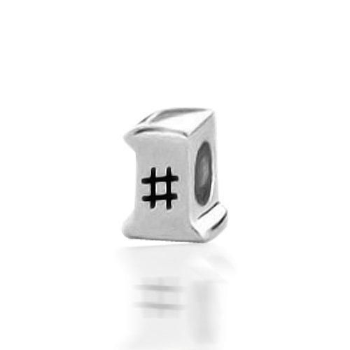 Bling Jewelry Number One 925 Sterling Silver Charm Bead Fits Troll Biagi Pandora