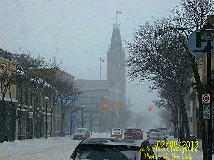 snowsquall activity over the downtown core in Belleville Ontario