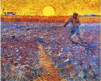 밀레의 그림을 모사한 것이라고 한다.  그러나 밀레보다 더 동화적인 느낌이 드는 이유는 고흐 특유의 거친 붓터치와 강렬하게 떠오르는 노란색 태양와 하늘 때문이 아닐까.