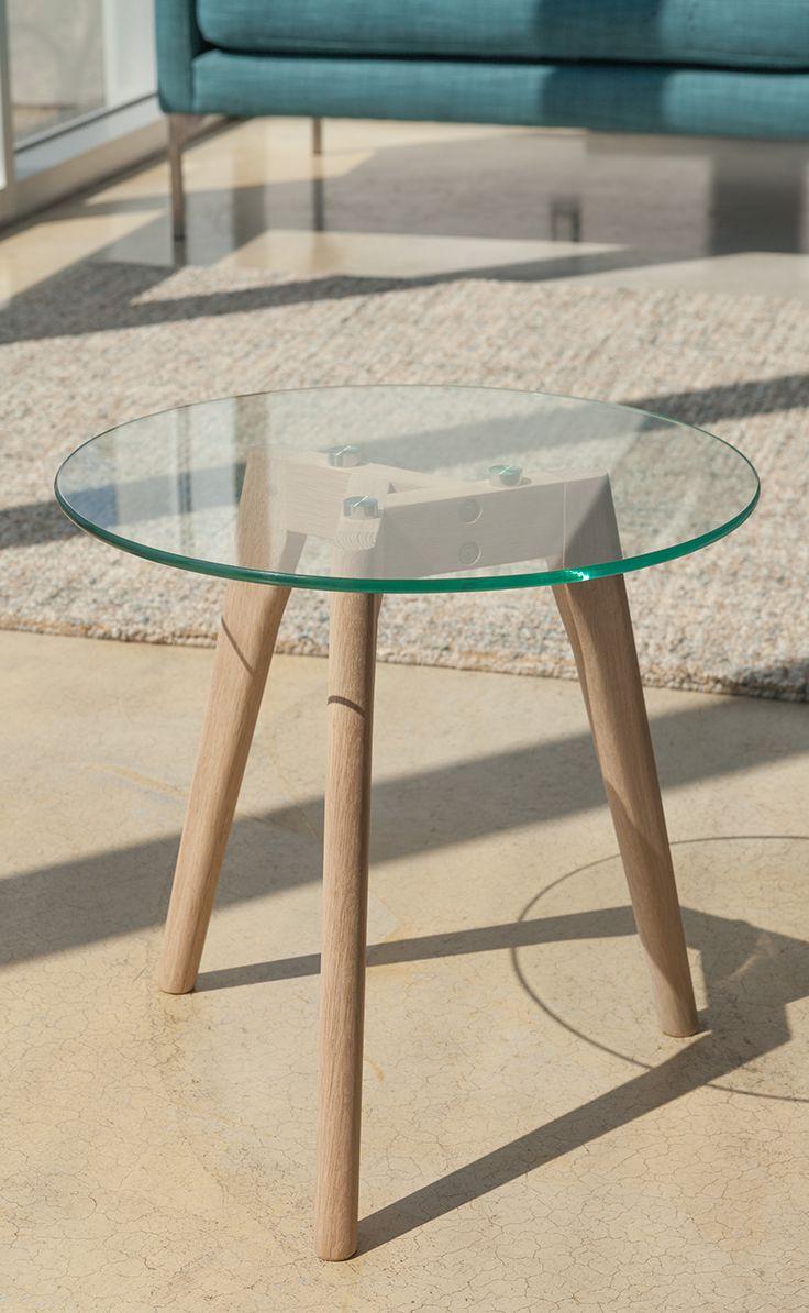 Modern Glass Side Table In Oak Wood Round Clarus Modern Furniture Sea Glassside Tablesbeach House