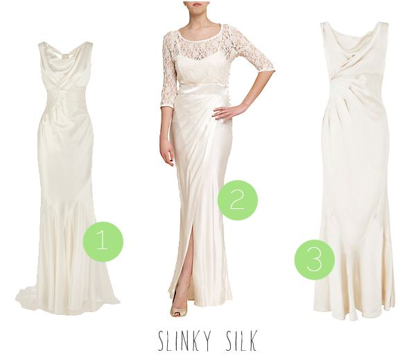 High street wedding dresses for the budget bride! :) Slinky silk traditional dresses.