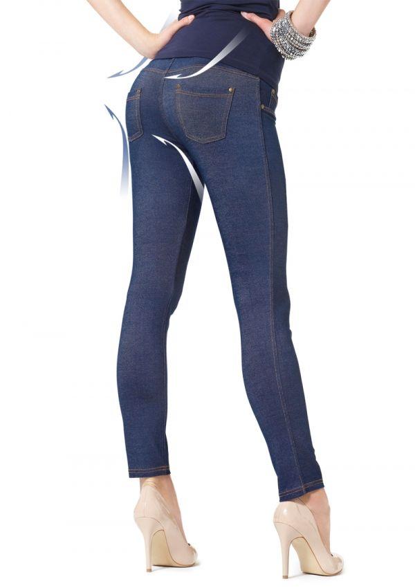 LEGGINSY JEANS PUSH UP Leginsy jeansowe Push Up 180 den, z miękką gąbeczką na pupie powodującą efekt push up. Idealnie dopasowują się do figury unosząc pośladki:  - wkładki modelujące - wygodna gumka w pasie - prawdziwe kieszenie - 3D cotton