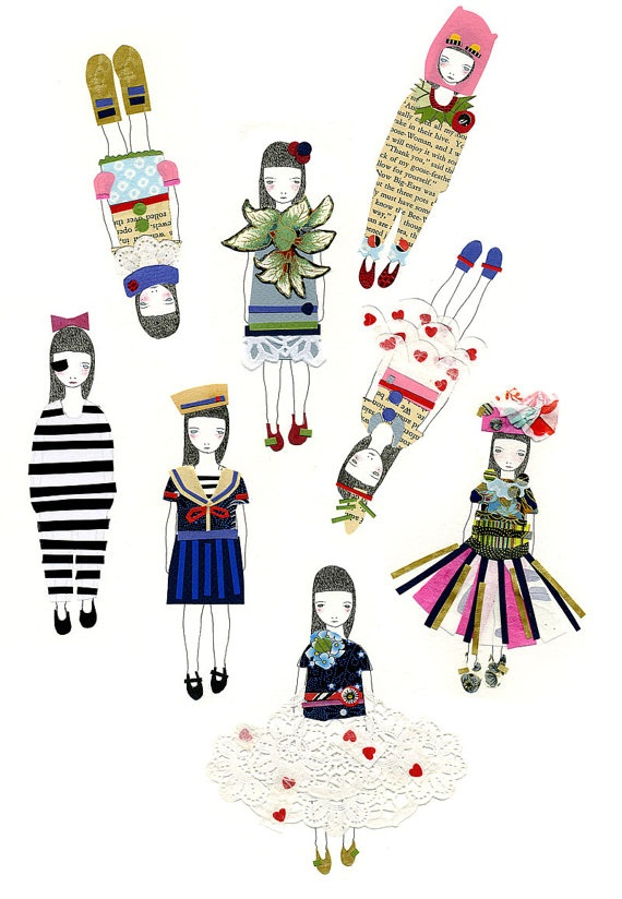 Sticker Set  Little Papercuts by myfolklover on Etsy, $10.00Campbell Illustration, Art Topic, Random Kidster, Papercut Dolls, 10 00, Illustration Inspiration, Art Design Illust, Stickers Sets, Catherine Campbell