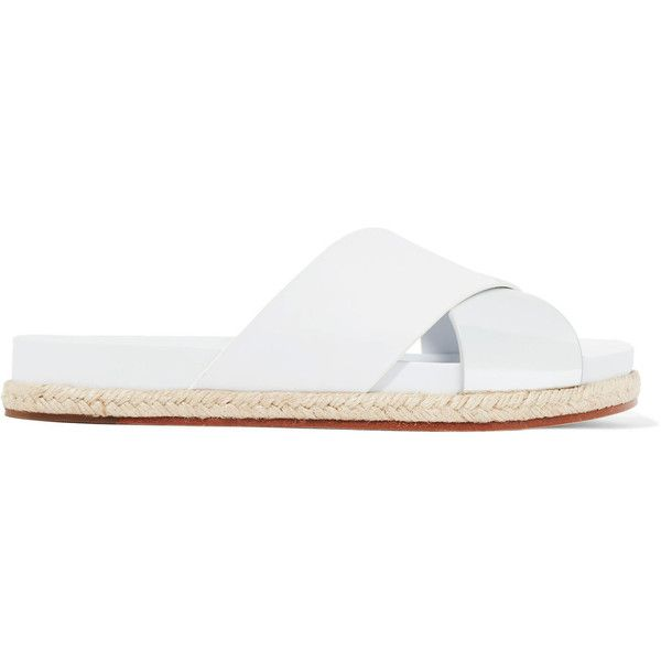 Tory Burch Monterey two-tone metallic and smooth leather espadrille... ($125) ❤ liked on Polyvore featuring shoes, sandals, white, tory burch sandals, metallic shoes, tory burch espadrilles, white sandals and white slip on shoes