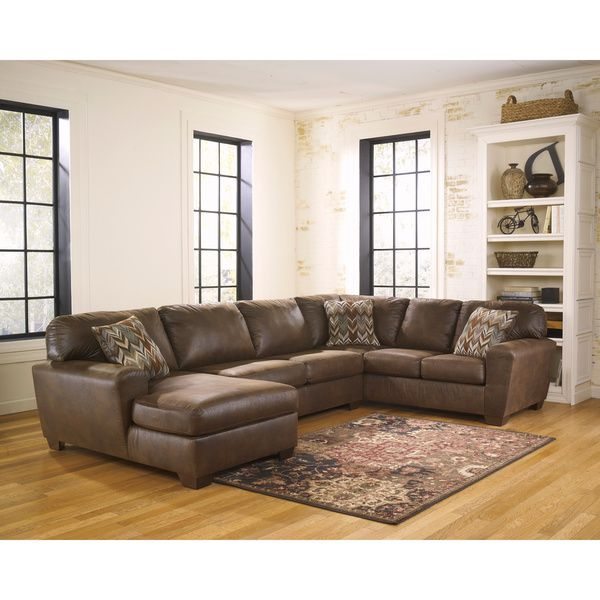 signature design by ashley foxworth 3piece armless loveseat corner chaise and sofa sectional