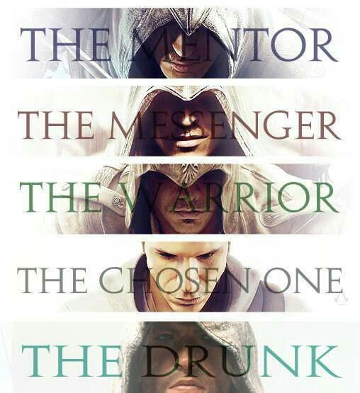 Altair the mentor, Ezio the messenger, Connor the warrior, Desmond the chosen one. . .and Edward the drunk.