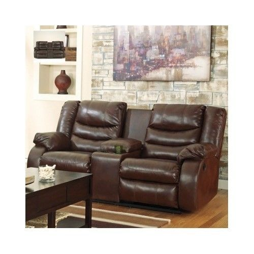 Leather-Loveseat-Recliner-Living-Room-Furniture-Double-Console-Dual-Sofa-Lazyboy