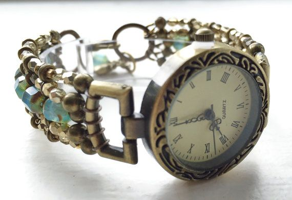 Bracelet watch retro Art Deco style blue by ShereesTrinketBox