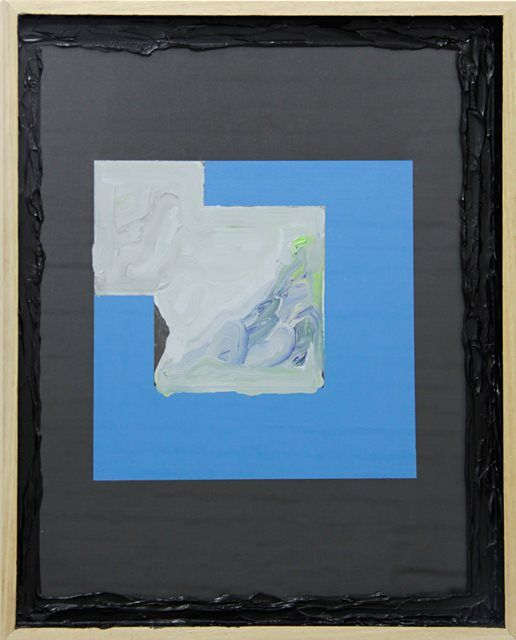 Sean Bailey, Untitled, 2013, synthetic polymer paint, collage, glass, board, artist frame, 53.5 x 43.5 cm