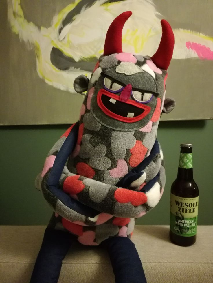 This is BABYFACE DEMON, fabric demon doll, fabric monster, fabric devil, large stuffed animal, stuffed monster, sewed monster, funny monster doll, stuffed devil, large devil doll, devil toy. Created by Hugehug