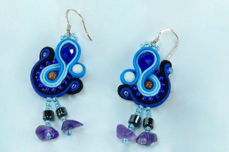 Dangle soutache earrings, soutache jewelry, gift for her, gift for mom, gift for sister, gift for women, blue earrings