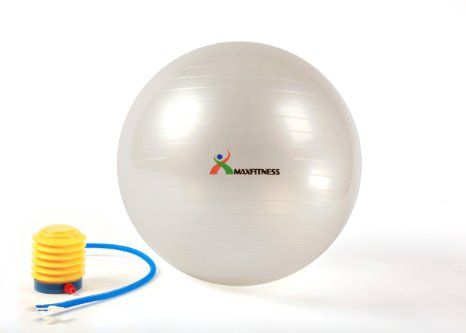 Max Fitness 65cm Exercise Ball with Foot Pump (Pearl White): Health & Personal Care #exercise #fitness #weightloss