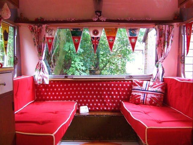 Cute vintage RV interior. Look! Polka dots!