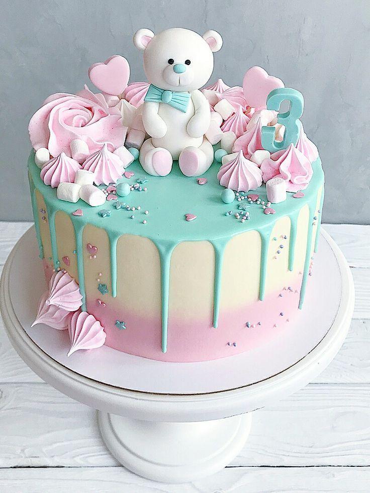 rosa und grüner Teddybärkuchen – # Babykuchen