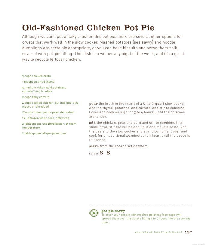 Old-fashioned Chicken Pot Pie | Pot of Crock | Pinterest