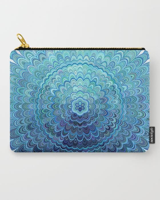 SOLD: Frozen Oval Mandala Carry All Pouch by David Zydd  #christmas #bags #giftideas
