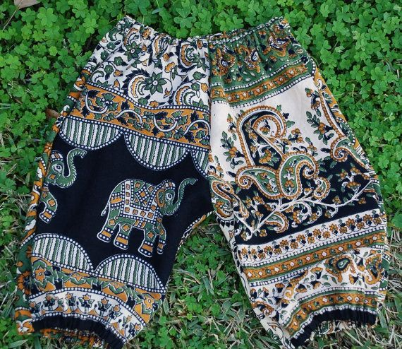 Hippie baby  Pants- Harem style Bloomers - Green Elephant design - size 6 to 9 months or size 1- Boys or Girls on Etsy, $12.25
