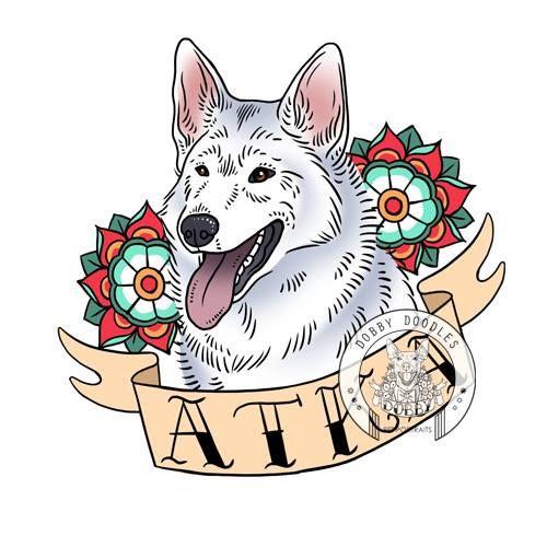 Dobby Doodles pet portraits. Old school tattoo inspired custom pet portraits. Just $25! #dog #dogtattoo #oldschooltattoo #petportrait