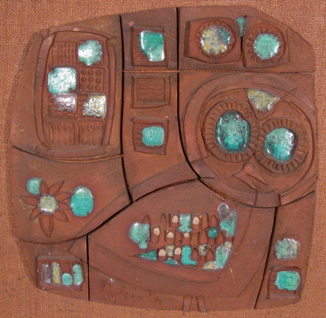 Clyde Kelly Ceramic Wall Panel Abstract Mid Century Modern California Design Craftsman Sculpture.