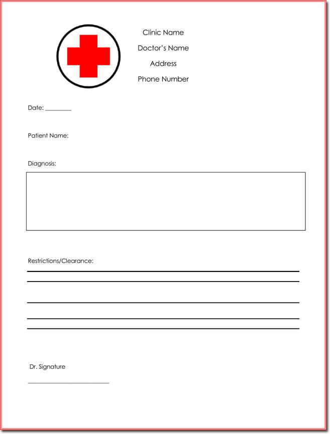 9 Best Free Fake Doctors Note Templates For Work Doctors Note