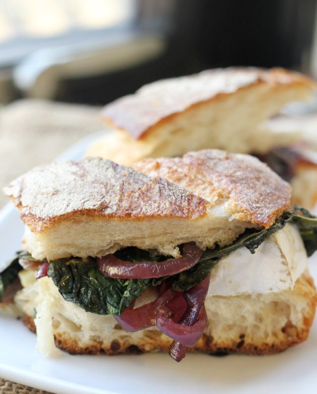 Kale, Caramelized Onion and Brie Grilled Cheese