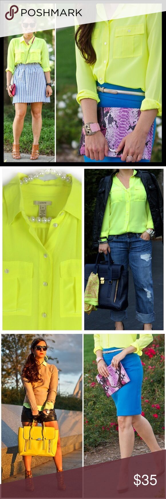 j. crew // neon yellow 100% silk blythe blouse A classic army shirt reimagined in drapey and feminine silk crepe de chine. Dressed up or down, this top is the ultimate in effortless chic. We're sporting ours tucked into sleek pencil skirts for extra polish or languid and loose for that cool-girl look we love. This color is beyond awesome. It's a pretty true neon yellow. Excellent condition, no flaws to note. Actual shirt shown on pearl hanger in photos 2 and 4. J. Crew Tops Blouses