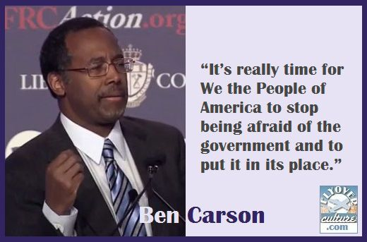 """It's really time for We the People of America to stop being afraid of the government and to put it in its place.""  ~ Ben Carson"