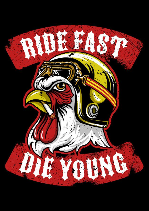 Rooster Wearing Vintage Helmet Emblem Rooster Logo Biker Art Pix Art