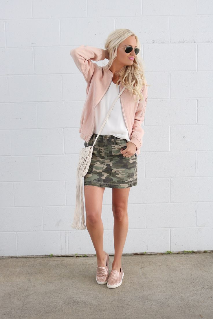 Blush Bomber Jacket + Camo Skirt