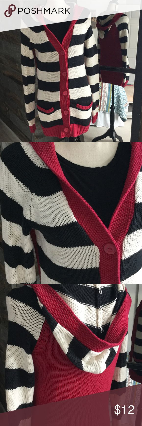 Roxy cardigan. Roxy cardigan, long cut. Worn but in good shape still. The red is more of a maroon red than Apple red. Roxy Sweaters Cardigans