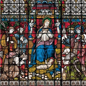 The Nativity of Christ is a stained glass window in the Lady Chapel, Chichester Cathedral, by Clayton & Bell (1877)
