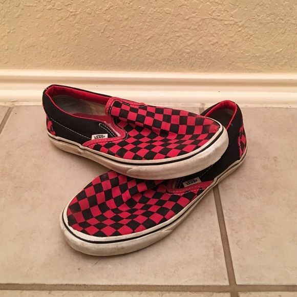 Red and Black Checkered Vans Red and black checkered vans. A little wear and tear on the elastic Vans Shoes Flats & Loafers