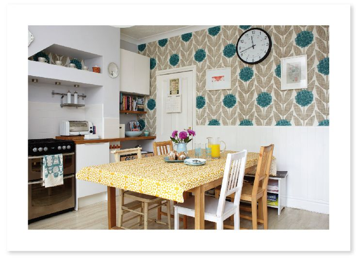 White kitchen orla kiely wallpaper accent wall dig it for Kitchen print wallpaper