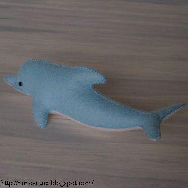 Stuffed felt dolphin for my son Kari the baby dolphin, I mean Liam the boy.