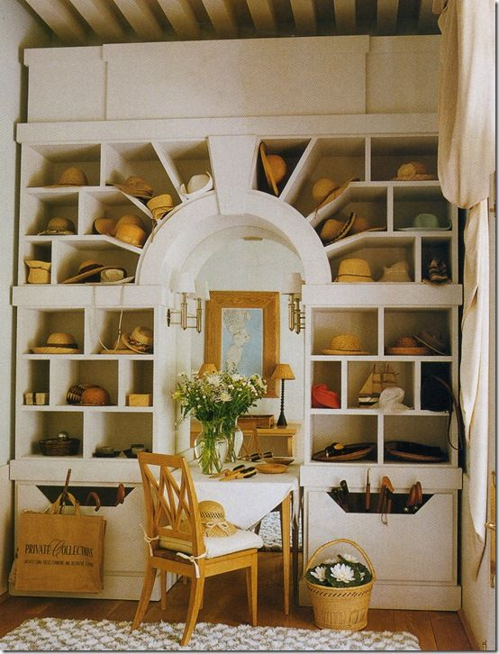 This is Definitely the nicest Hat rack I've ever seen. Love, love love the personality! The Lisa Porter Collection: A Place for Everything. Photo Veranda Magazine.