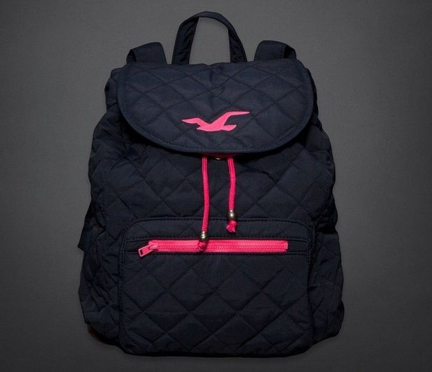 Hollister by Abercrombie Women's Navy BLUE Quilted SoCal Backpack NEW Tote Book $42.99