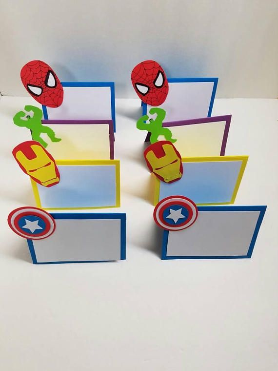Superhero Place Cards Food Tents Set Of 8 Party