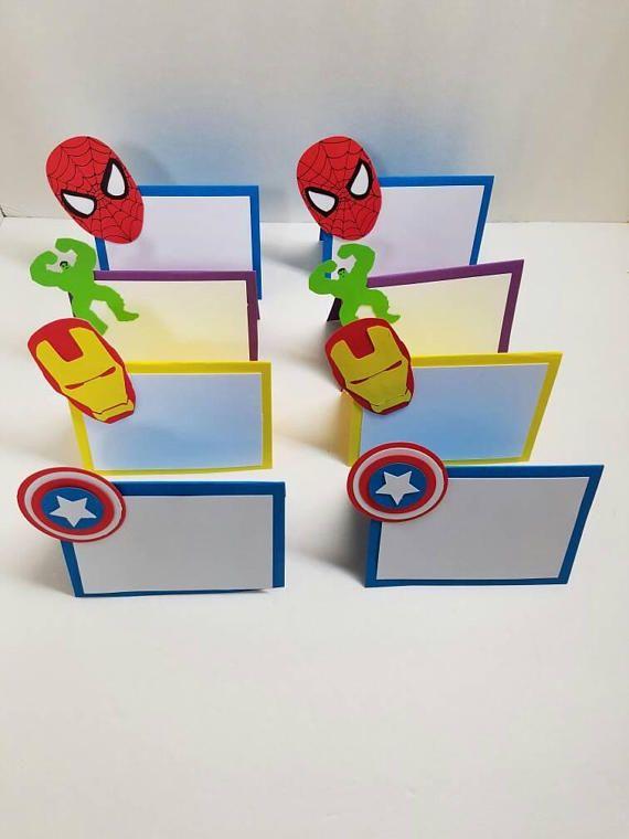 Superhero Place Cards Food Tents Set Of 8 Superhero Party