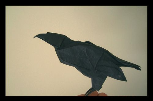 I like this origami crow pretty well. It'd be cooler if it were on some kind of patterned black and gray paper. That might be too hard to draw, though.