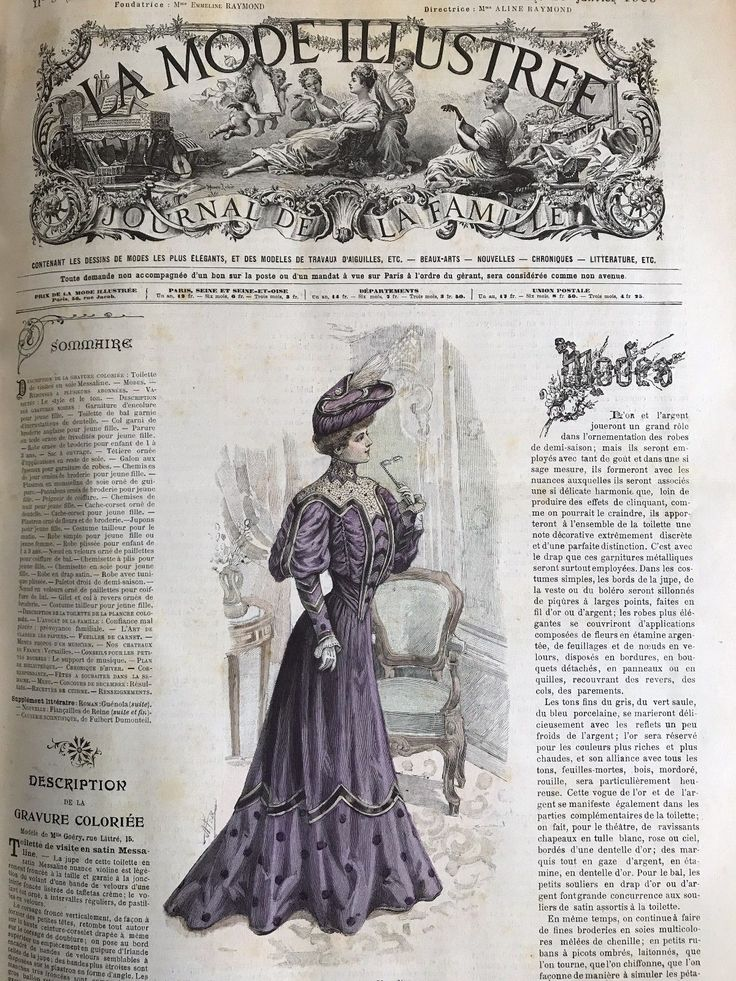 French MODE ILLUSTREE SEWING PATTERN January 29,1905 ROBE EN DRAP SATIN | eBay