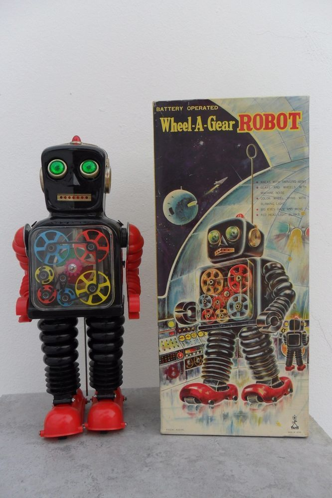 Rare Wheel-A-Gear Robot Battery Operated Taiyo Toys Made in Japan 1960's Box