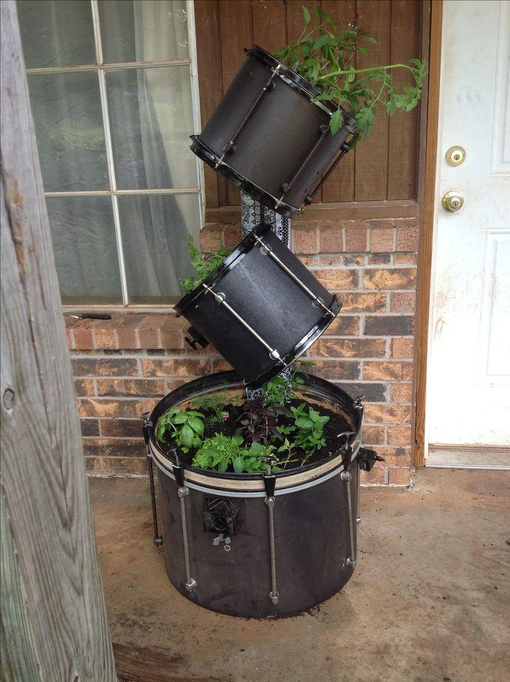 My rockin herb garden..... Repurposed drum kit.....