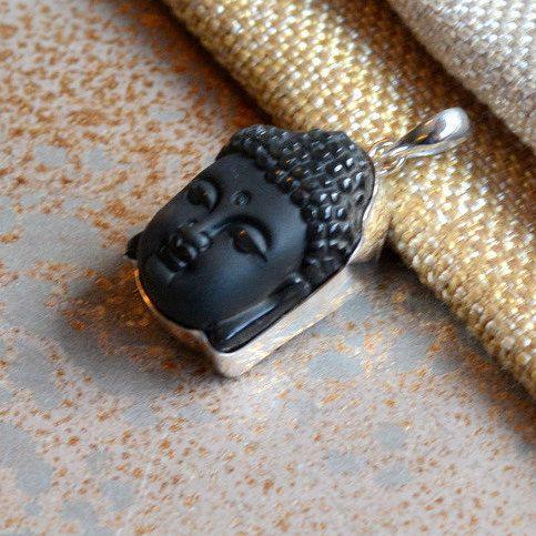 Carved Onyx Buddha Head Pendant, Silver Zen Buddha Head, Serene Matte Black Onyx Buddha Focal Pendant, Buddha Head Pendant, KP17-0429B by WanderlustWorldArts on Etsy