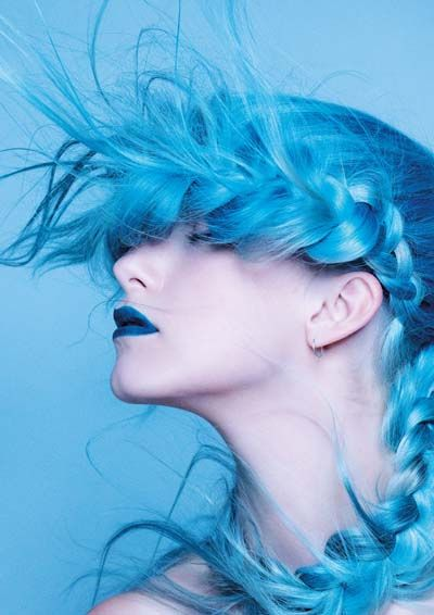 Bright blue hair + braid