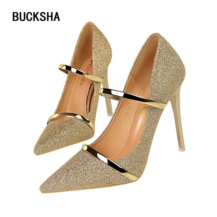 <b>New High Heels</b> for <b>Women</b> Pointed Toe Gold Pumps Shoes Ladies ...