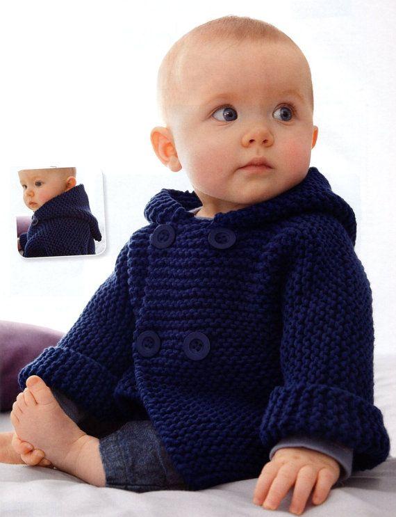 ENGLISH Garter Stitch Baby Hooded Jacket Beginner Knitting Pattern PDF