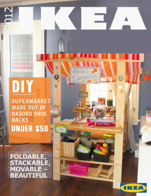 Turn a shoe rack into a play supermarket.
