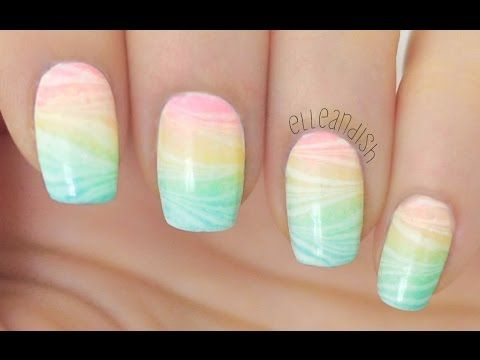 Easter/Spring Pastel Rainbow Water Marble Nail Art Tutorial (Nail Art April #1) - YouTube